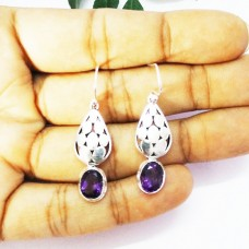 Gorgeous NATURAL PURPLE AMETHYST Gemstone Earrings, Birthstone Earrings, 925 Sterling Silver Earrings, Fashion Handmade Earrings, Dangle Earrings, Gift Earrings