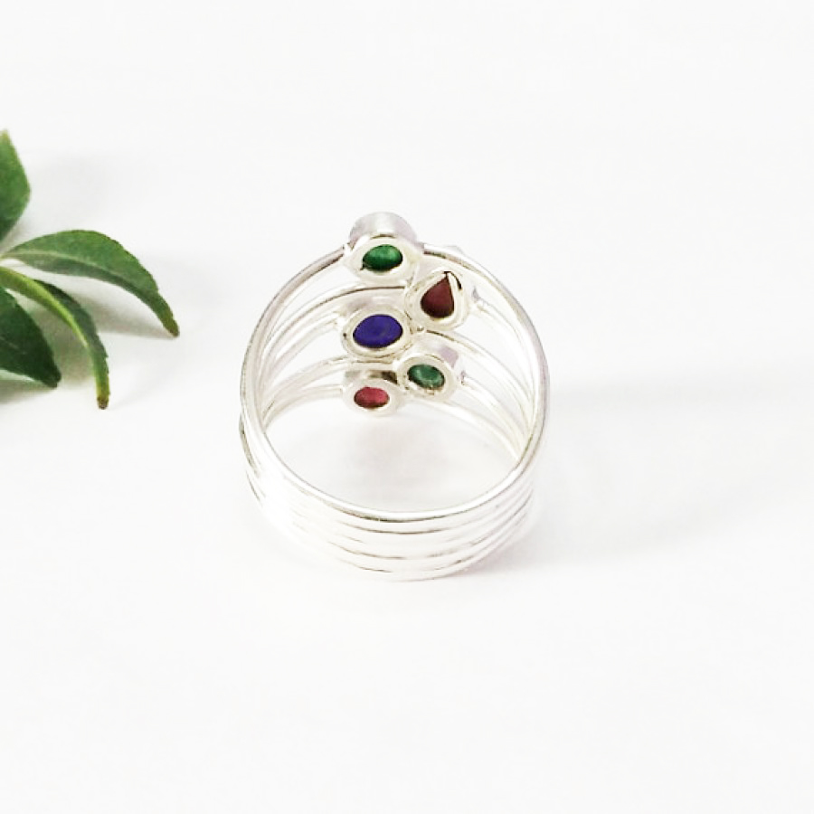 Gorgeous NATURAL MULTI GEMSTONE Ring, Birthstone Ring, 925 Sterling Silver Ring, Fashion Handmade Ring, All Ring Size, Gift Ring