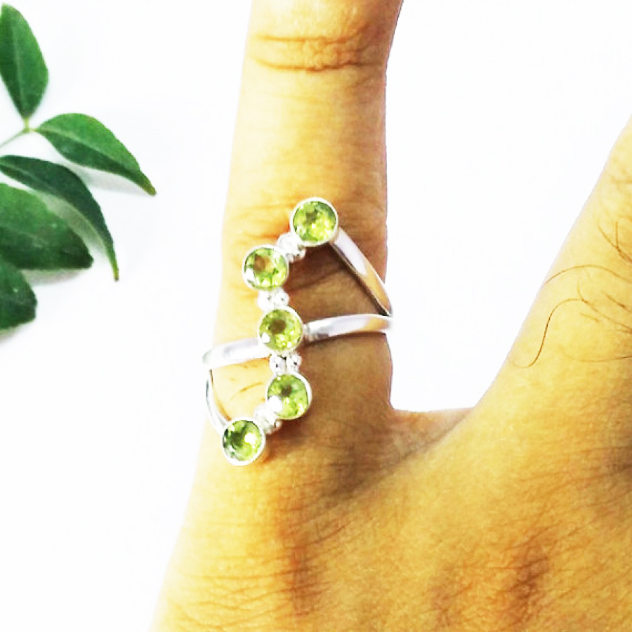 Awesome GREEN PERIDOT Gemstone Ring, Birthstone Ring, 925 Sterling Silver Ring, Fashion Handmade Ring, All Ring Size, Gift Ring