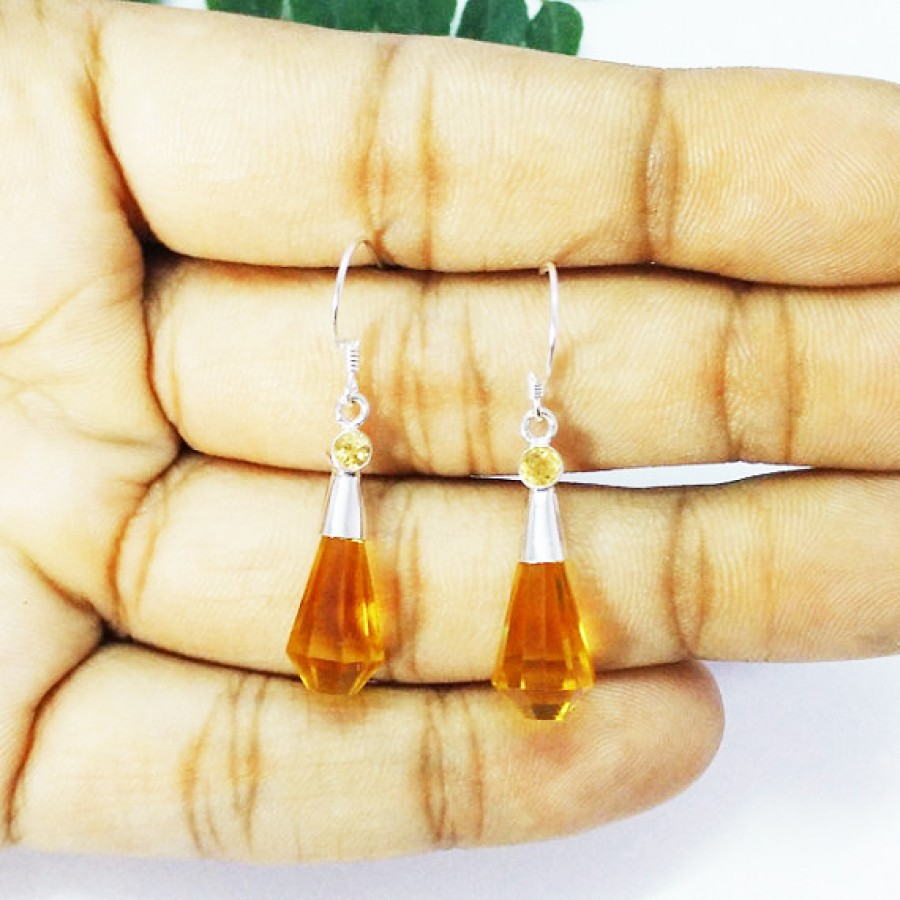 Amazing YELLOW CITRINE Gemstone Earrings, Birthstone Earrings, 925 Sterling Silver Earrings, Fashion Handmade Earrings, Dangle Earrings, Gift Earrings