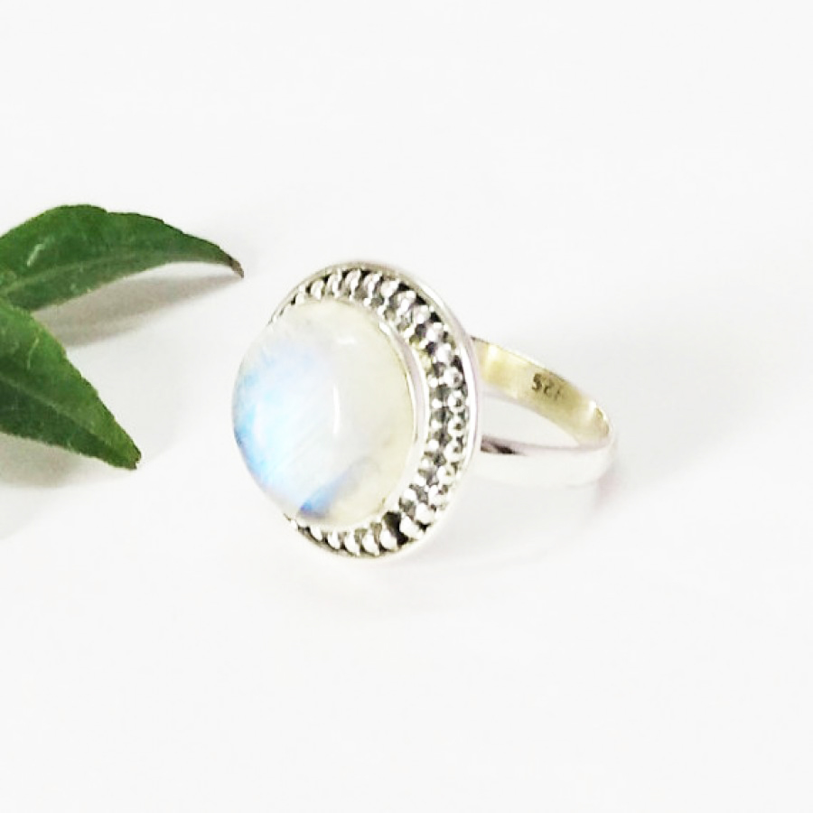 Exclusive NATURAL BLUE FIRE RAINBOW MOONSTONE Gemstone Ring, Birthstone Ring, 925 Sterling Silver Ring, Fashion Handmade Ring, All Ring Size, Gift Ring