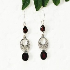 Gorgeous NATURAL RED GARNET Gemstone Earrings, Birthstone Earrings, 925 Sterling Silver Earrings, Fashion Handmade Earrings, Dangle Earrings, Gift Earrings