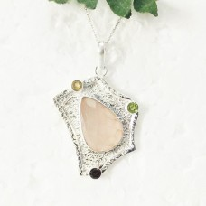 Gorgeous MULTI GEMSTONE Pendant, Birthstone Pendant, 925 Sterling Silver Pendant, Fashion Handmade Pendant, Free Chain, Gift Pendant