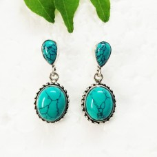 Attractive GREEN TURQUOISE Gemstone Earrings, Birthstone Earrings, 925 Sterling Silver Earrings, Fashion Handmade Earrings, Drop Earrings, Gift Earrings