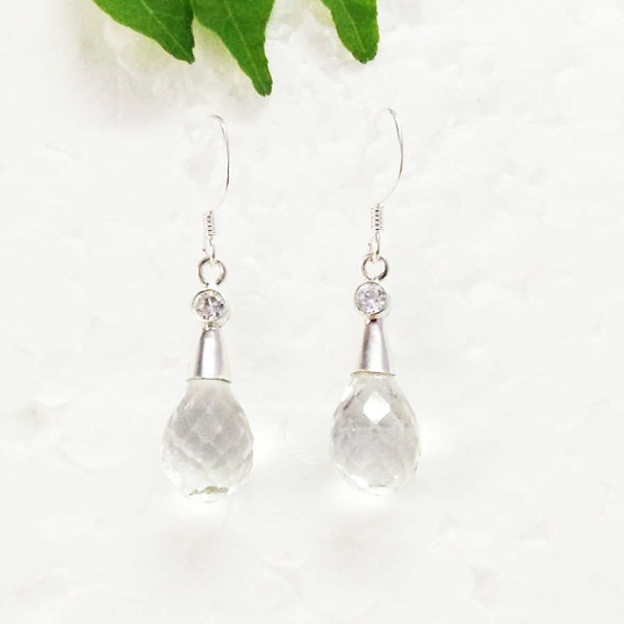 Attractive NATURAL CLEAR CRYSTAL Gemstone Earrings, Birthstone Earrings, 925 Sterling Silver Earrings, Fashion Handmade Earrings, Dangle Earrings, Gift Earrings
