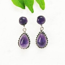 Genuine NATURAL PURPLE AMETHYST Gemstone Earrings, Birthstone Earrings, 925 Sterling Silver Earrings, Fashion Handmade Earrings, Drop Earrings, Gift Earrings