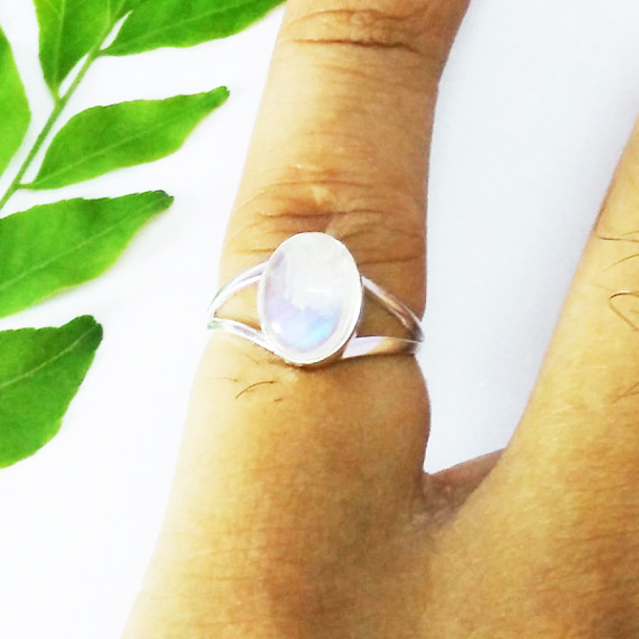 Gorgeous NATURAL BLUE FIRE RAINBOW MOONSTONE Gemstone Ring, Birthstone Ring, 925 Sterling Silver Ring, Fashion Handmade Ring, All Ring Size, Gift Ring