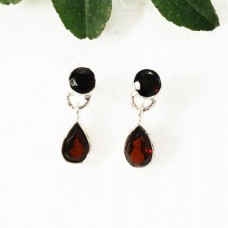Beautiful NATURAL RED GARNET Gemstone Earrings, Birthstone Earrings, 925 Sterling Silver Earrings, Fashion Handmade Earrings, Drop Earrings, Gift Earrings