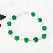 Attractive GREEN ONYX Gemstone Bracelet, Birthstone Bracelet, 925 Sterling Silver Bracelet, Fashion Handmade Bracelet, Adjustable Size, Gift Bracelet