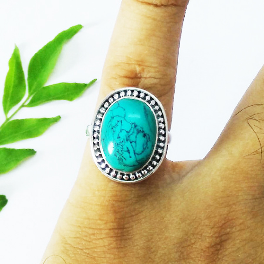 Attractive GREEN TURQUOISE Gemstone Ring, Birthstone Ring, 925 Sterling Silver Ring, Fashion Handmade Ring, All Ring Size, Gift Ring