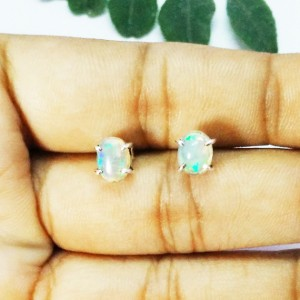 Awesome NATURAL ETHIOPIAN OPAL Gemstone Earrings, Birthstone Earrings, 925 Sterling Silver Earrings, Healing Energy & Powers, Stud Earrings, Gift Earrings