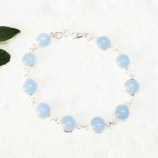 Gorgeous NATURAL BLUE CHALCEDONY Gemstone Bracelet, Birthstone Bracelet, 925 Sterling Silver Bracelet, Fashion Handmade Bracelet, Adjustable Size, Gift Bracelet