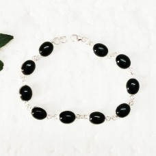Attractive BLACK ONYX Gemstone Bracelet, Birthstone Bracelet, 925 Sterling Silver Bracelet, Fashion Handmade Bracelet, Adjustable Size, Gift Bracelet