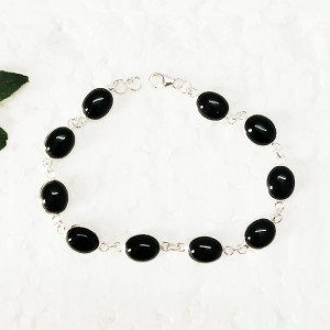 Attractive BLACK ONYX Gemstone Bracelet, Birthstone Bracelet, 925 Sterling Silver Bracelet, Fashion Handmade Bracelet, Adjustable Size