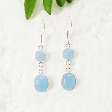 Amazing BLUE CHALCEDONY Gemstone Earrings, Birthstone Earrings, 925 Sterling Silver Earrings, Fashion Handmade Earrings, Dangle Earrings, Gift Earrings