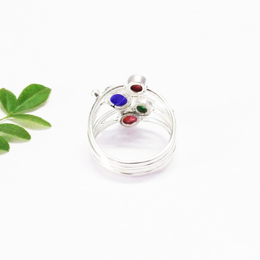 Beautiful NATURAL MULTI GEMSTONE Ring, Birthstone Ring, 925 Sterling Silver Ring, Fashion Handmade Ring, All Ring Size, Gift Ring
