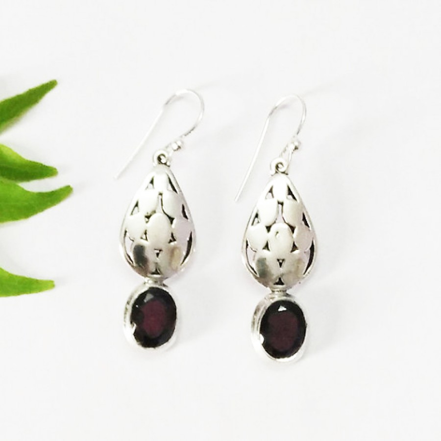 Amazing NATURAL RED GARNET Gemstone Earrings, Birthstone Earrings, 925 Sterling Silver Earrings, Fashion Handmade Earrings, Dangle Earrings, Gift Earrings