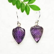 Awesome NATURAL PURPLE AMETHYST Gemstone Earrings, Birthstone Earrings, 925 Sterling Silver Earrings, Fashion Handmade Earrings, Dangle Earrings, Carving Earrings, Gift Earrings