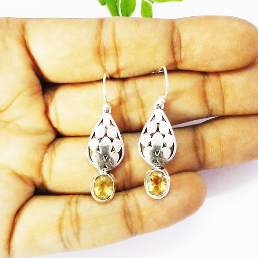 Beautiful NATURAL CITRINE Gemstone Earrings, Birthstone Earrings, 925 Sterling Silver Earrings, Fashion Handmade Earrings, Dangle Earrings, Gift Earrings