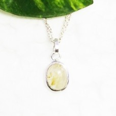 Beautiful NATURAL GOLDEN RUTILE Gemstone Pendant, Birthstone Pendant, 925 Sterling Silver Pendant, Fashion Handmade Pendant, Free Chain, Gift Pendant