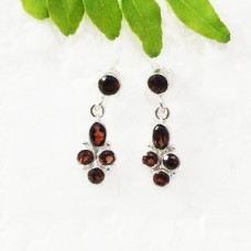 Amazing NATURAL RED GARNET Gemstone Earrings, Birthstone Earrings, 925 Sterling Silver Earrings, Fashion Handmade Earrings, Drop Earrings, Gift Earrings