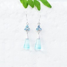 Amazing SKY BLUE TOPAZ Gemstone Earrings, Birthstone Earrings, 925 Sterling Silver Earrings, Fashion Handmade Earrings, Dangle Earrings, Gift Earrings