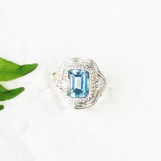 Beautiful SKY BLUE TOPAZ Gemstone Ring, Birthstone Ring, 925 Sterling Silver Ring, Fashion Handmade Ring, All Ring Size, Gift Ring