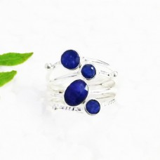 Gorgeous NATURAL INDIAN BLUE SAPPHIRE Gemstone Ring, Birthstone Ring, 925 Sterling Silver Ring, Fashion Handmade Ring, All Ring Size, Gift Ring