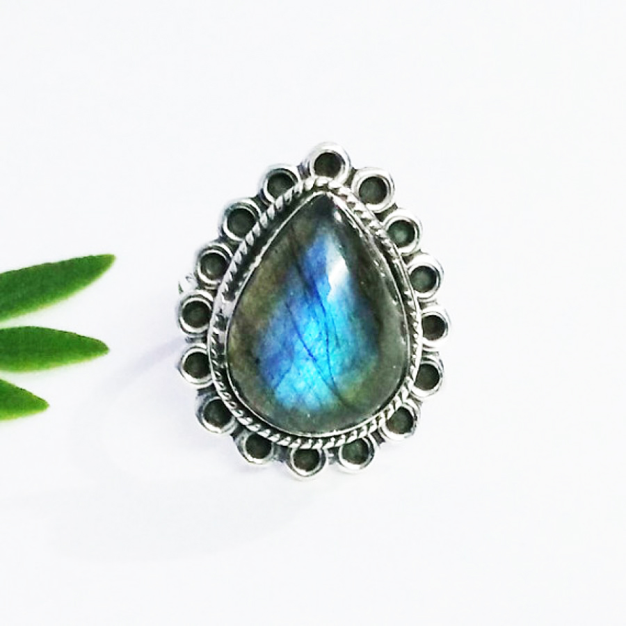 Awesome NATURAL BLUE FIRE LABRADORITE Gemstone Ring, Birthstone Ring, 925 Sterling Silver Ring, Fashion Handmade Ring, All Ring Size, Gift Ring