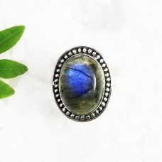 Attractive NATURAL BLUE FIRE LABRADORITE Gemstone Ring, Birthstone Ring, 925 Sterling Silver Ring, Fashion Handmade Ring, All Ring Size, Gift Ring