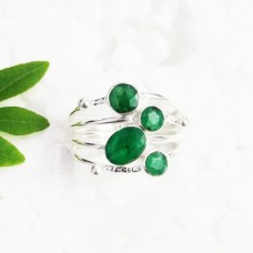 Beautiful NATURAL INDIAN EMERALD Gemstone Ring, Birthstone Ring, 925 Sterling Silver Ring, Fashion Handmade Ring, All Ring Size, Gift Ring