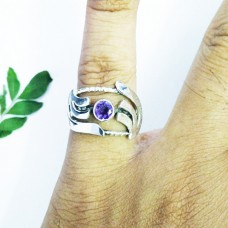 Genuine NATURAL PURPLE AMETHYST Gemstone Ring, Birthstone Ring, 925 Sterling Silver Ring, Fashion Handmade Ring, All Ring Size, Gift Ring