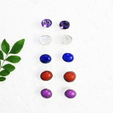 Gorgeous 5 PAIRS Gemstone Earrings, Birthstone Earrings, 925 Sterling Silver Earrings, Fashion Handmade Earrings, Weekdays Stud Earrings, Gift Earrings