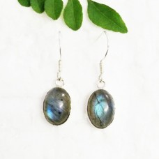 Amazing NATURAL BLUE FIRE LABRADORITE Gemstone Earrings, Birthstone Earrings, 925 Sterling Silver Earrings, Handmade Earrings, Dangle Earrings, Gift Earrings
