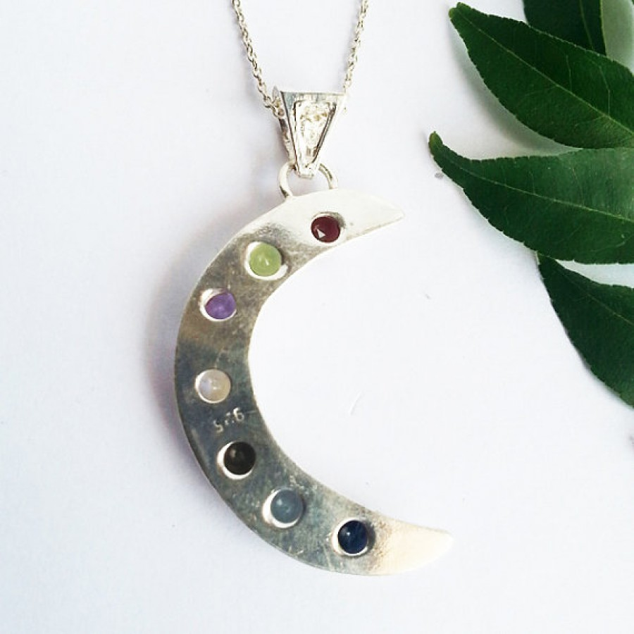 Amazing NATURAL MULTI GEMSTONE Pendant, Birthstone Pendant, 925 Sterling Silver Pendant, Fashion Handmade Pendant, Free Chain, Gift Pendant