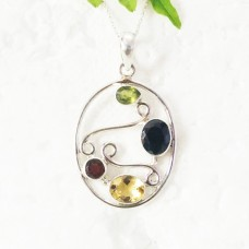 Gorgeous NATURAL MULTI GEMSTONE Pendant, Birthstone Pendant, 925 Sterling Silver Pendant, Fashion Handmade Pendant, Free Chain, Gift Pendant