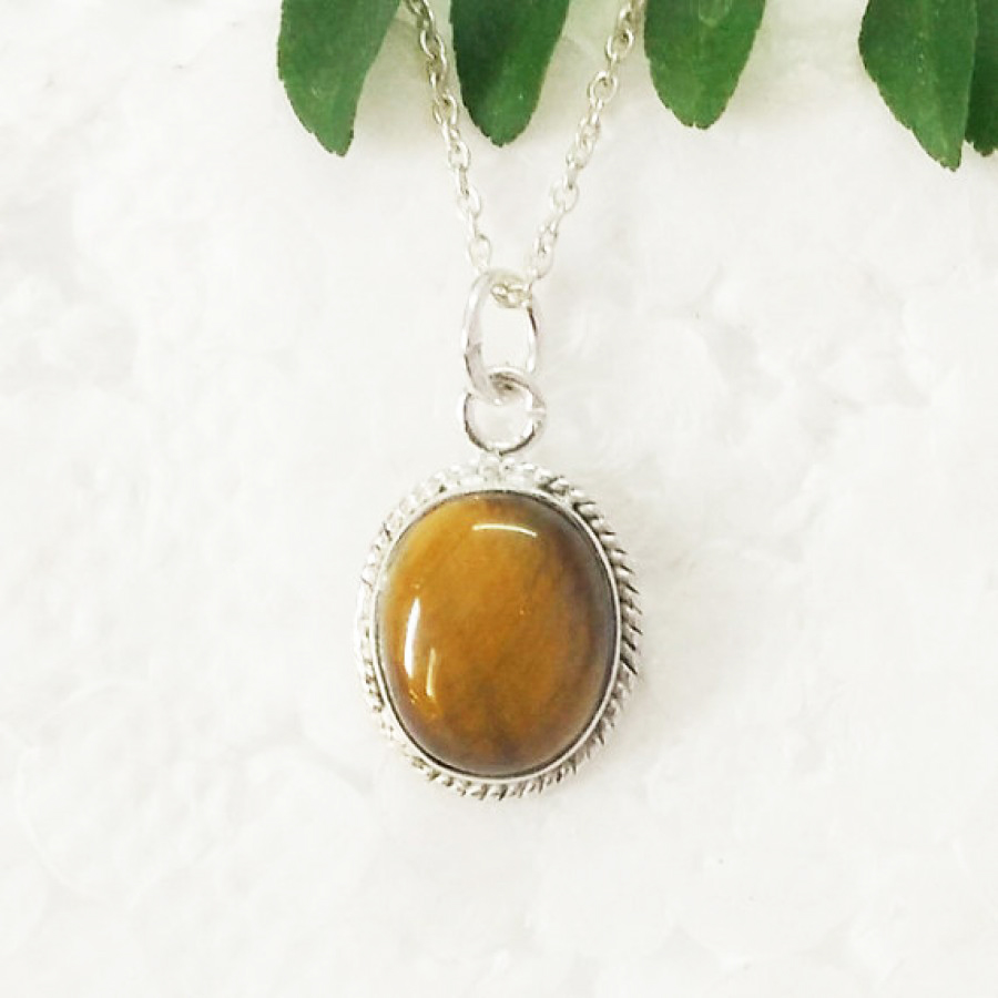 Amazing NATURAL TIGER EYE Gemstone Pendant, Birthstone Pendant, 925 Sterling Silver Pendant, Fashion Handmade Pendant, Free Chain, Gift Pendant