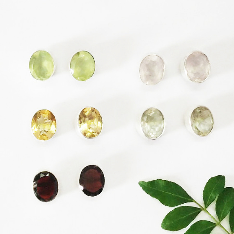 Attractive 5 PAIRS Gemstone Earrings, Birthstone Earrings, 925 Sterling Silver Earrings, Fashion Handmade Earrings, Weekdays Stud Earrings, Gift Earrings