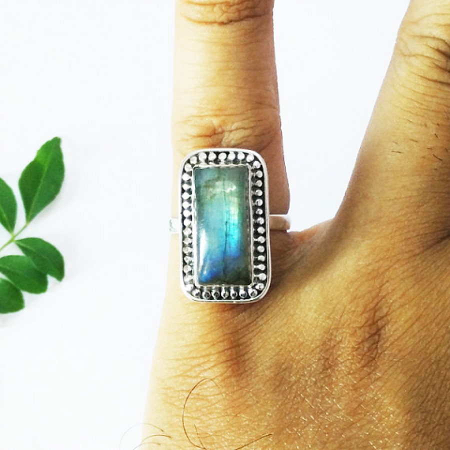 Attractive NATURAL BLUE FIRE LABRADORITE Gemstone Ring, Birthstone Ring, 925 Sterling Silver Ring, Artisan Handmade Ring, Fashion Ring, All Ring Size, Gift Ring