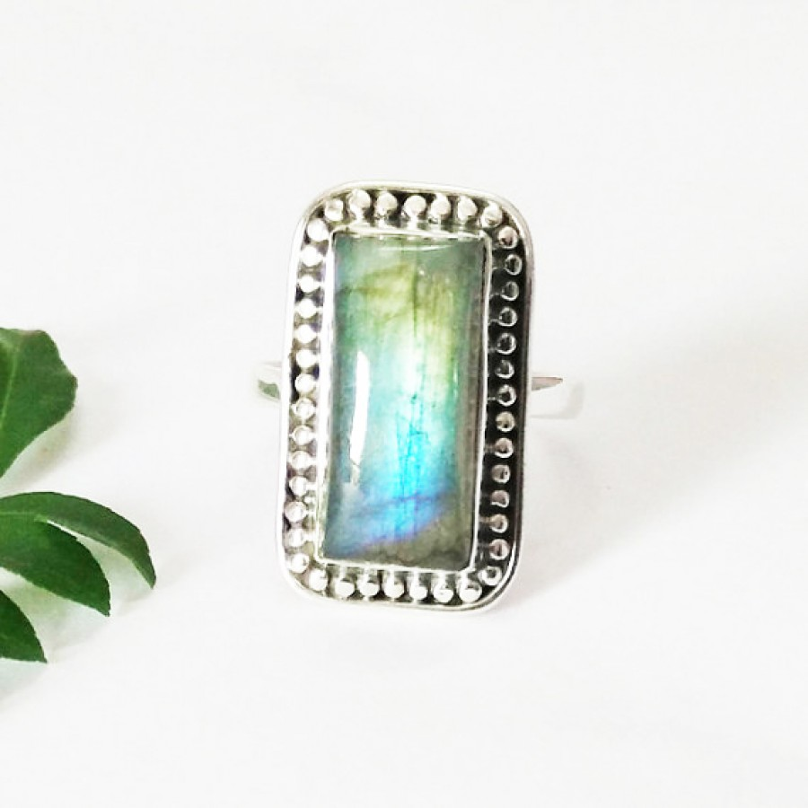 Attractive NATURAL FIRE LABRADORITE Gemstone Ring, Birthstone Ring, 925 Sterling Silver Ring, Artisan Handmade Ring, Fashion Ring, All Ring Size, Gift Ring