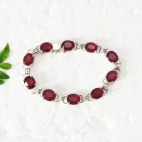 Genuine NATURAL RUBY Gemstone Bracelet, Birthstone Bracelet, 925 Sterling Silver Bracelet, Fashion Handmade Bracelet, All Size, Gift Bracelet
