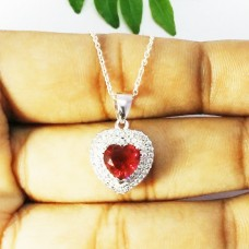Exclusive HEART RUBY Gemstone Pendant, Birthstone Pendant, 925 Sterling Silver Pendant, Fashion Handmade Pendant, Free Chain, Love Gift