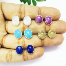 Beautiful 5 PAIRS Gemstone Earrings, Birthstone Earrings, 925 Sterling Silver Earrings, Fashion Handmade Earrings, Weekdays Stud Earrings, Gift Earrings