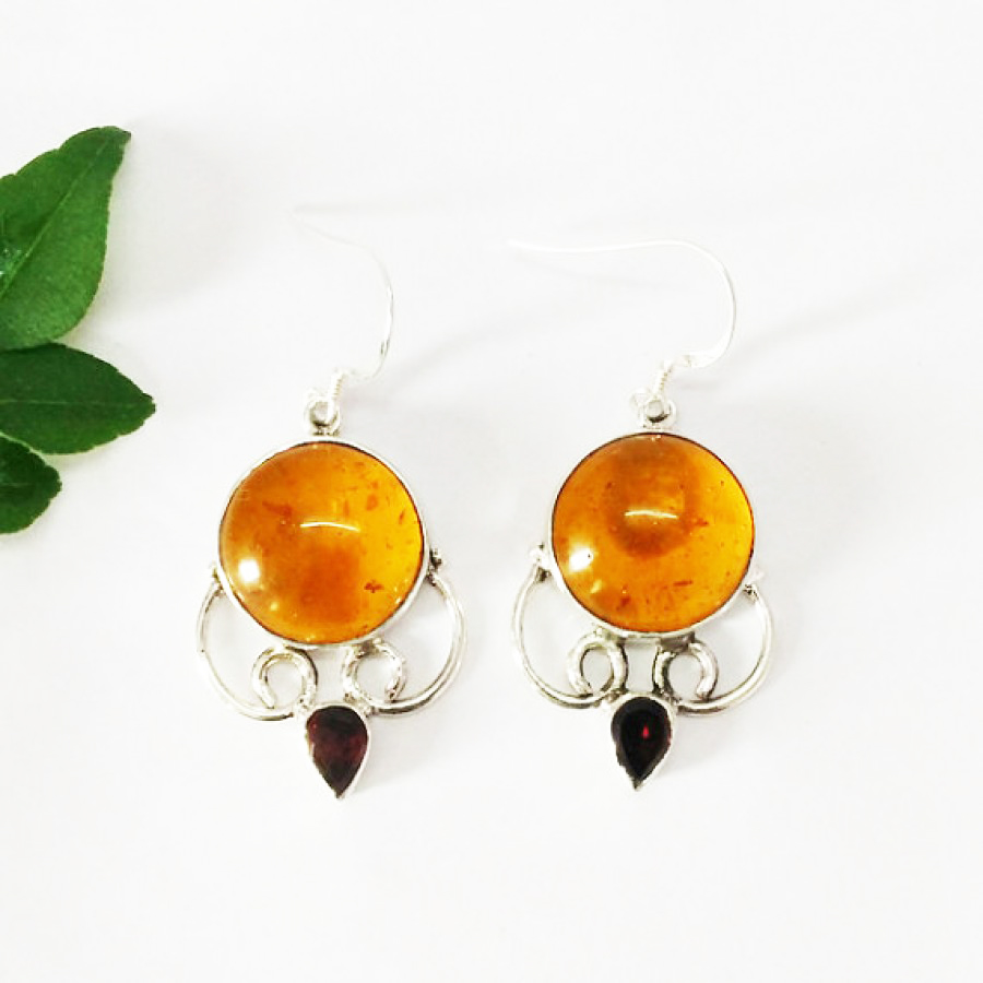 Beautiful AMBER / RED GARNET Gemstone Earrings, Birthstone Earrings, 925 Sterling Silver Earrings, Fashion Handmade Earrings, Dangle Earrings, Gift Earrings