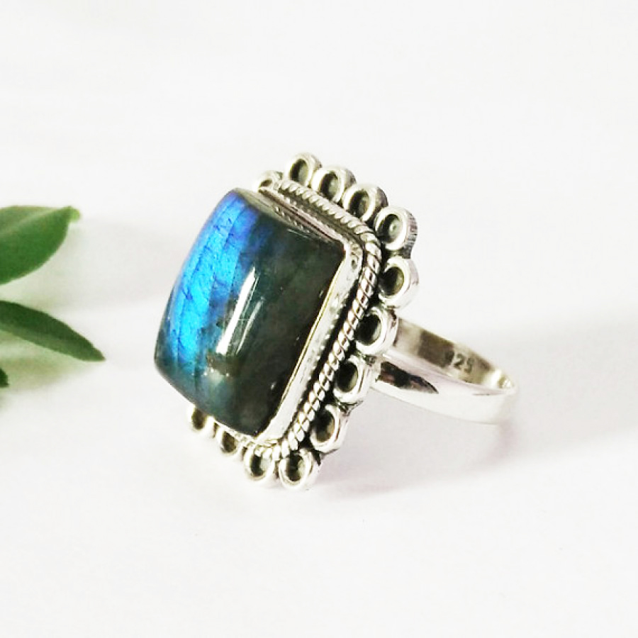 Exclusive NATURAL BLUE FIRE LABRADORITE Gemstone Ring, Birthstone Ring, 925 Sterling Silver Ring, Artisan Handmade Ring, Fashion Ring, All Size, Gift Ring