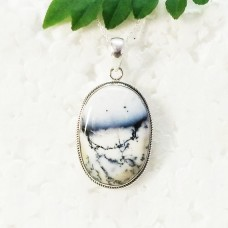 Gorgeous NATURAL DENDRITIC OPAL Gemstone Pendant, Birthstone Pendant, 925 Sterling Silver Pendant, Fashion Handmade Pendant, Free Chain, Gift Pendant
