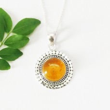 Gorgeous BALTIC AMBER Gemstone Pendant, Birthstone Pendant, 925 Sterling Silver Pendant, Fashion Handmade Pendant, Free Chain, Gift Pendant