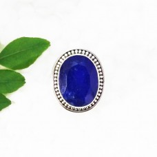 Amazing NATURAL INDIAN BLUE SAPPHIRE Gemstone Ring, Birthstone Ring, 925 Sterling Silver Ring, Fashion Handmade Ring, All Ring Size, Gift Ring