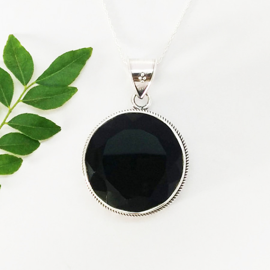 Attractive BLACK ONYX Gemstone Pendant, Birthstone Pendant, 925 Sterling Silver Pendant, Fashion Handmade Pendant, Free Chain, Gift Pendant