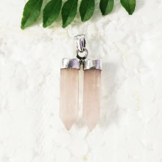 Exclusive NATURAL ROSE QUARTZ Gemstone Pendant, Birthstone Pendant, 925 Sterling Silver Pendant, Fashion Handmade Pendant, Free Chain, Gift Pendant